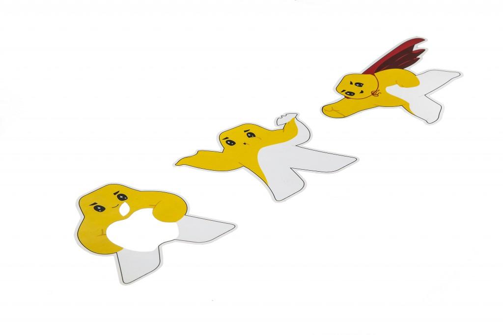 מדבקות פוליאסטר לבן עם הדפסה דיגיטלית וחיתוך צורני